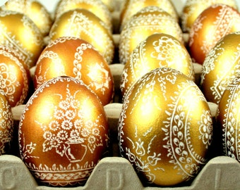 easter egg, chicken eggs, pysanka, hand decorated, gold egg, pysanky, unique gift, handmade, easter eggs