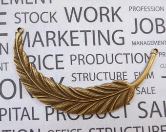 10 pcs Antique Bronze Super Large Feather Pendants 17x95mm