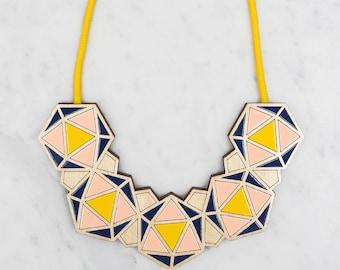 Minimalist Necklace / Geometric Bib - Yellow / Blush Pink / Navy / Statement Necklace / Contemporary Necklace