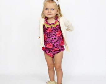 Gypsy Floral Romper OR Skirt, Baby Toddler Rompers, Sunsuit, Fall Outfit, Girls Skirts, Bow, Paisley, Boho, Headwrap, Flowers, Lace, Floral