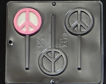 Peace Sign Lollipop Chocolate Candy Mold 3419