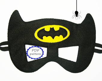 PDF PATTERN Batman felt mask Superhero sewing tutorial instruction Black Yellow DIY Halloween costume accessory boy girl adult Dress up play