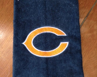 Navy Embroidered Finger Tip Towel  - Chicago Bears