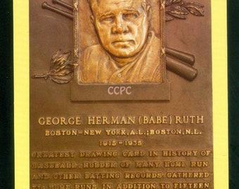 Babe Ruth George Herman Ruth National Baseball Hall of Fame Plaque Cooperstown NY Postcard
