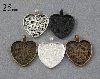20Pieces/lot 25mm/1 inch Heart Cabochon Settings, Heart Pendant Blanks - Great to Match Glass and Epoxy