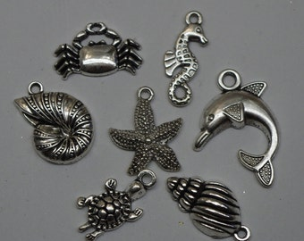 OCEAN CHARMS, (7), sea charms, silver toned alloy, beading destash, jewelry supplies, jewellery supplies, jane bari beads