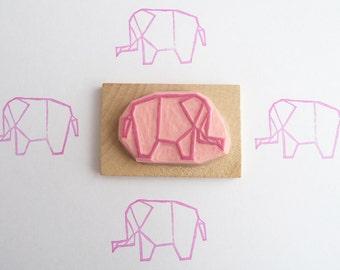 Tampon en gomme, motif éléphant origami, gravé à la main