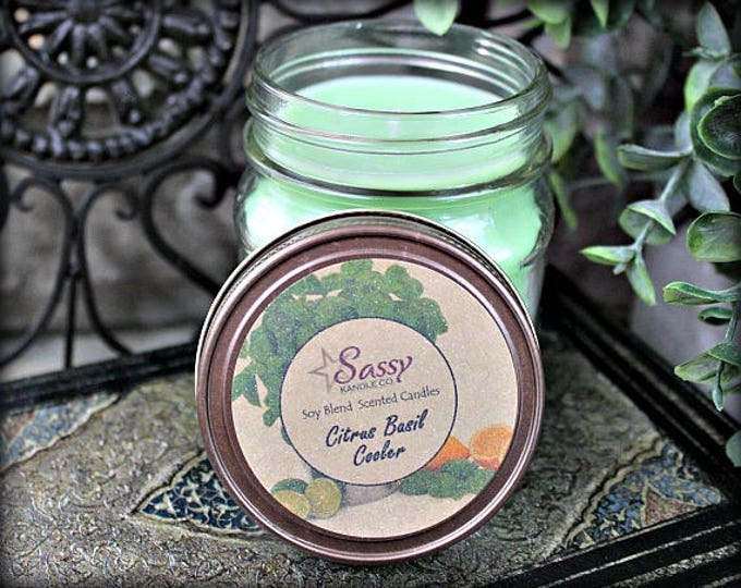 CITRUS BASIL COOLER | Mason Jar Candle | Sassy Kandle Co.