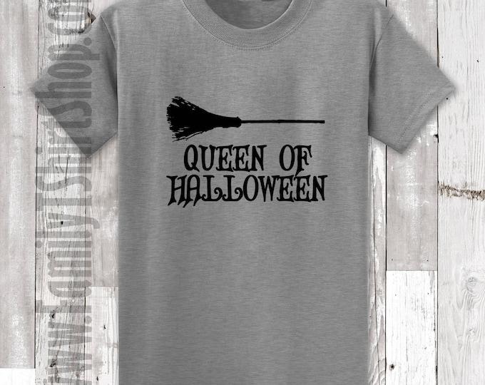 Queen of Halloween Broom T-Shirt