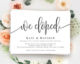 We eloped announcement Elopement reception invitation template We eloped invitation Post wedding reception invitation Elope invites #vm41