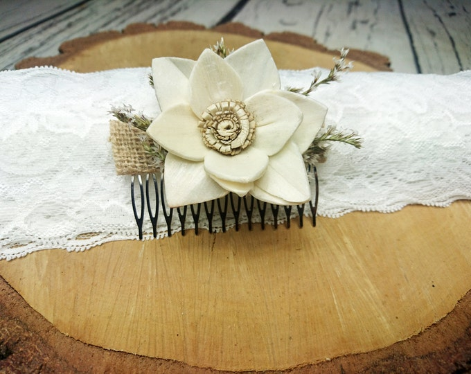 Brown  burlap  hair piece HAIR COMB ivory sola flower rustic woodland wedding, bridal accessory, custom, dried flowers, delicate head piece