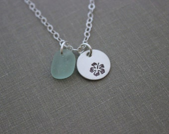 Sterling Silver Hawaiian Hibiscus Flower Necklace with  Genuine Sea Glass,  Hand Stamped,  Simple Beach Necklace