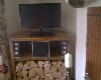 Lezele a corner tv unit and log store with shelf