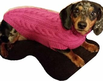 Mini-Dachshund Cable Knit Dog Sweater Pattern