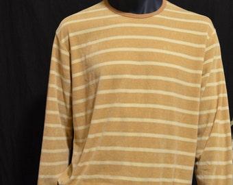 Christian Dior Velour shirt Macys California vintage Dior 70s designer menswear camel brown white stripes casual style size long sleeves Qwb17ij