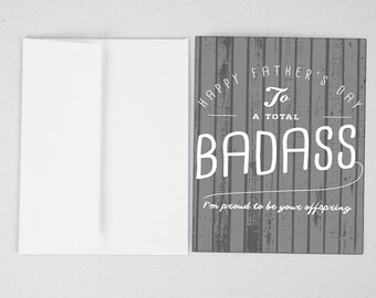 Badass dad Father's Day Card, Funny Father's Day Card, Father's Day Card, Greeting Card, Father's Day, Gifts for Dad, Father's Day Print