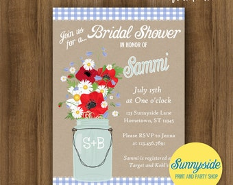 Wildflower Bridal Shower Invitation with Mason Jar and Gingham - Printable or Printed Shower Invite, Red White Blue, country