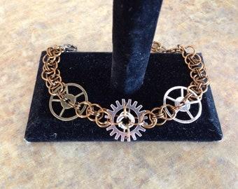 Steampunk Bracelet, Helm Chainmaille Jewelry, Steampunk Jewelry