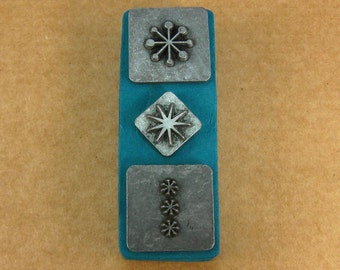 """1/2"""" Retro Stars Ornamental Stamps by Melody Ross / Set of 3 / Use On Chipboard And Leather"""