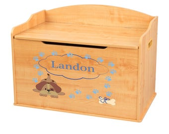 Personalized Blue Puppy Natural Toy Box Bench