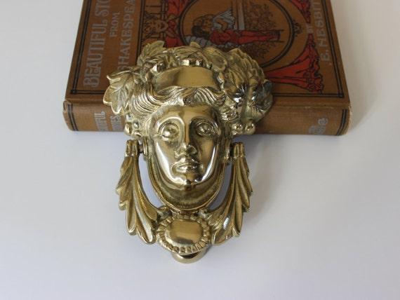 Vintage Solid Brass Womans Head Door Knocker, New Traditional Door Knocker,  Front Door Hardware, Brass Door Knocker