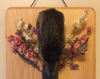 Duck Medium Sized Wall Plaque with Dried Flowers