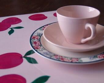 """Σουπλά """"Γλυκά Δαμάσκηνα"""" (ροζ) / Table Decor Placemats """"Sweet Plums"""" (pink) / Plastic Placemat / Pink Placemat"""