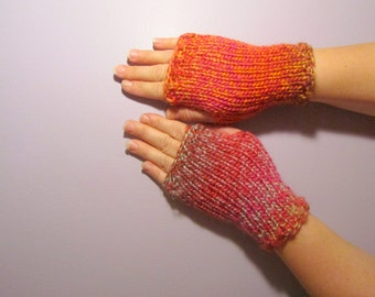 Fingerless Gloves - Pink and Orange Mix Hand Knit Fingerless Gloves