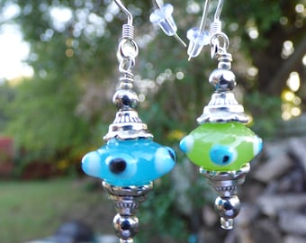 Funky Fun: lime and bright blue earrings, lampworked glass and silver