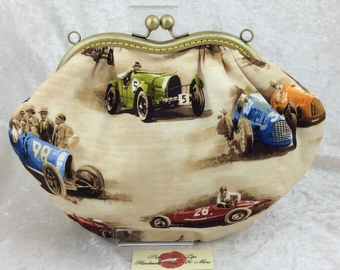Classic Cruisers fabric purse bag frame handbag fabric clutch shoulder bag frame purse kiss clasp bag Handmade racing cars
