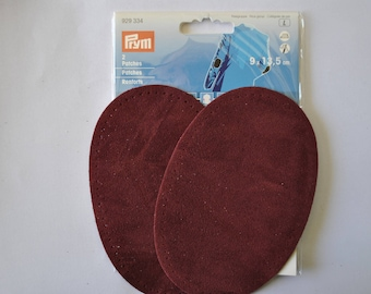 elbow reinforcements imitation suede red burgundy bordeaux wine 9x13.5cm has iron or sewing for repair/customization prym 929334