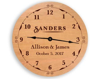 Wedding clock, family name clock, anniversary clock, personalized clock. wedding gift, anniversary gift, wood wall clock. CL6010