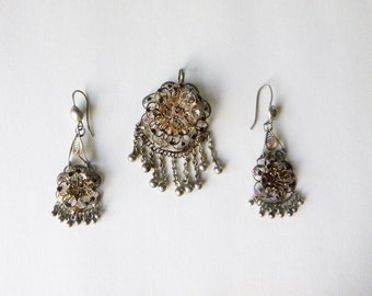 Vintage cannetille demi parure of pendant and pierced drop earrings
