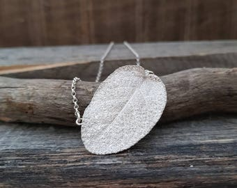 Silver Leaf Necklace, Sage Necklace, Real Leaf Jewelry, Fine Silver Necklace, Botanical Necklace, Leaf Pendant, Nature Jewelry, Oval Pendant
