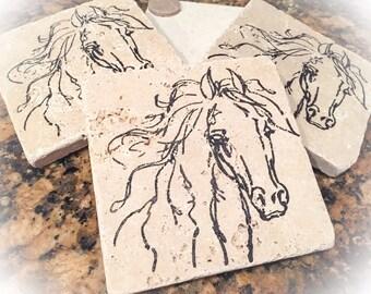 Horse coasters, travertine coaster set, coasters, horse coaster set, travertine horse coasters