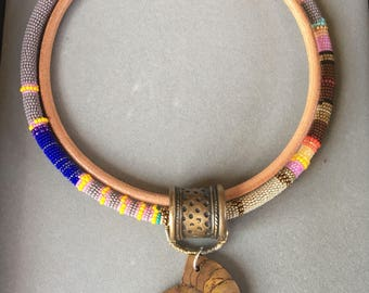 Ammonite Necklace, beaded and leather