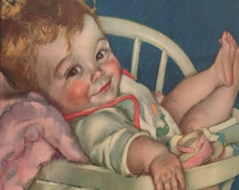 Adorable Maud Tousey Fangel litho 1930s. Baby and bottle