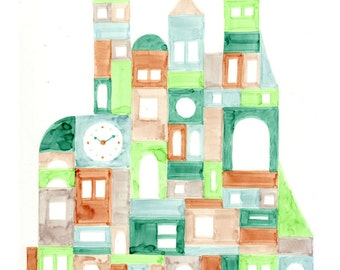 Colorful Geometric Buildings Oversized Illustration Art Print Vertical Format, Green, Brown, Lime Green, Aqua
