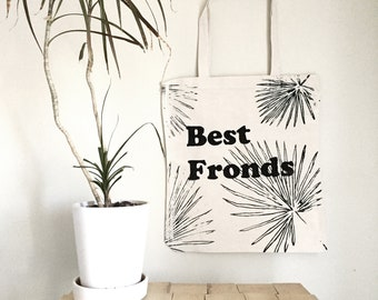 Best Fronds with Palm Frond Tote Bag, Screenprinted canvas tote bag, palm frond