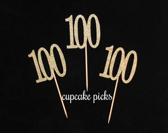 100th Birthday Cupcake Picks, 100th Birthday Cupcake toppers, 100th Birthday Party Decorations