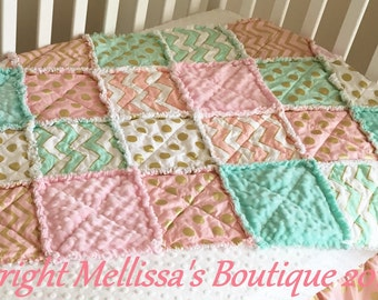 Designer Blush Mint & Gold Metallic Boutique Shabby Chic Baby Travel Rag Quilt Photo Prop Bedding MADE TO ORDER