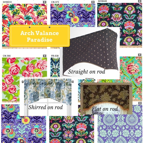 Arch Valance Custom - Paradise Collection / Modern Floral Valance, Boho Retro Valance, Colorful Tropical Valance,  Kids Room Valance