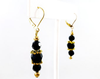 Antiqued Gold and Black Crystal Latch Back Dangle Earrings, Antiqued Gold and Black Drop Earrings, Black Glass Faceted Crystal Earrings