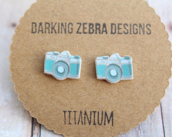 Blue Camera Stud Earrings | Gifts for Photographers | Camera Jewelry | Titanium Stud Earrings | Hypoallergenic