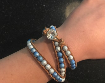 Blue and Silver Triple Wrap