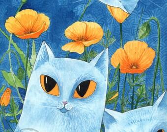 Les chats bleus - The blue cats - Trio, trois, fleurs, naif, enfantin, peinture, painting, art, déco