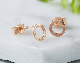 Rose Gold Hammered Circle Studs