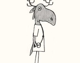 Moose - Elegant Animals - Kids Print -  Illustration Print - Nursery Decor - Kids Room