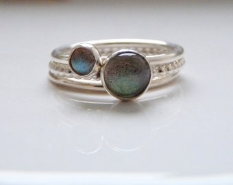 Stacking ring set -  Labradorite ring set - Gemstone stacking ring set- set of thee stacking rings