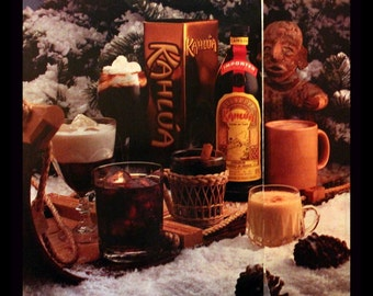 1984 Kahlua Coffee Liqueur Ad for Christmas - Wall Art - Home Decor - Bar - Drinks - Retro Vintage Beer and Liquor Advertising